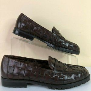 Talbots Brown Woven Leather Moc Toe Penny Loafers